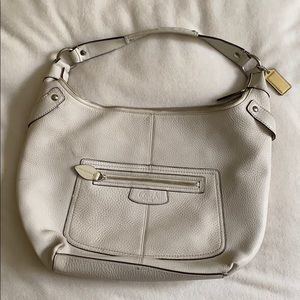 Large White Leather Coach Hobo Bag